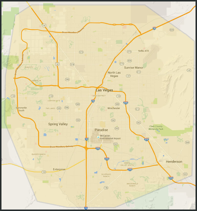 Las Vegas Appliance Service 11 to 7 Appliance Repair Las Vegas NV Service Area Map